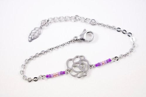 Bracelet acier fleur violet réglable inoxydable bohème miyuki