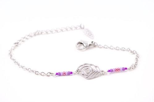 Bracelet acier plume de paon violet réglable inoxydable bohème miyuki