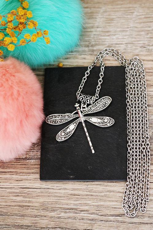 Sautoir/ collier long libellule argenté et sa chain