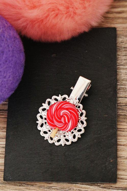 Barrette sucette lolipop rouge fimo artisanale pince bonbon sucrerie