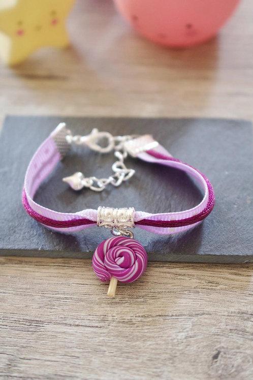 Bracelet enfant violet sucette lolipop en fimo fait main