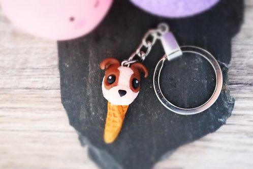 Porte clés Glace chien fimo artisanal