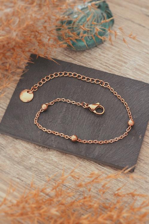Bracelet acier inoxydable rosé chaine billes réglable