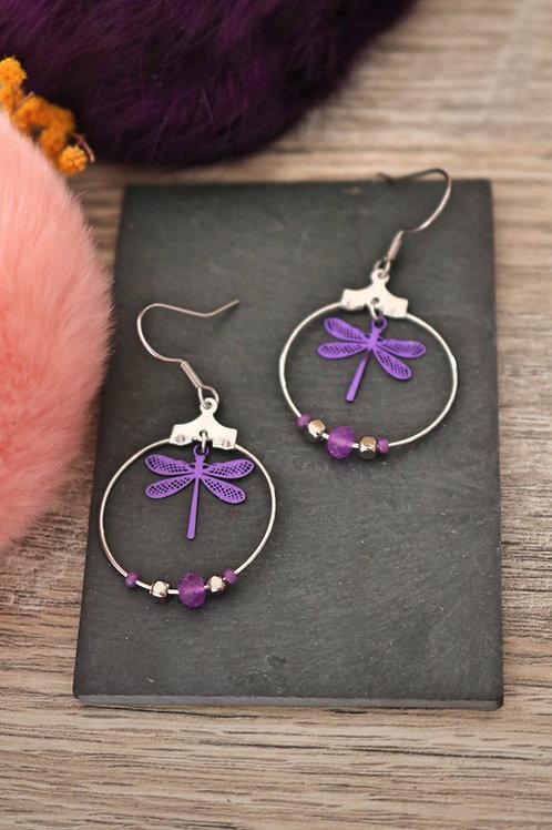 Boucles d'oreilles créoles libellules filigranes violettes attaches acier inox