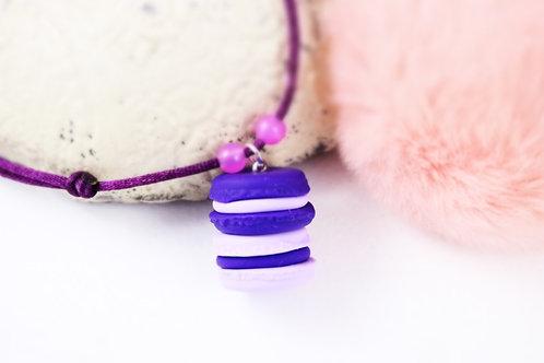 Collier enfant duo macarons violet fimo artisanal bijou gateau