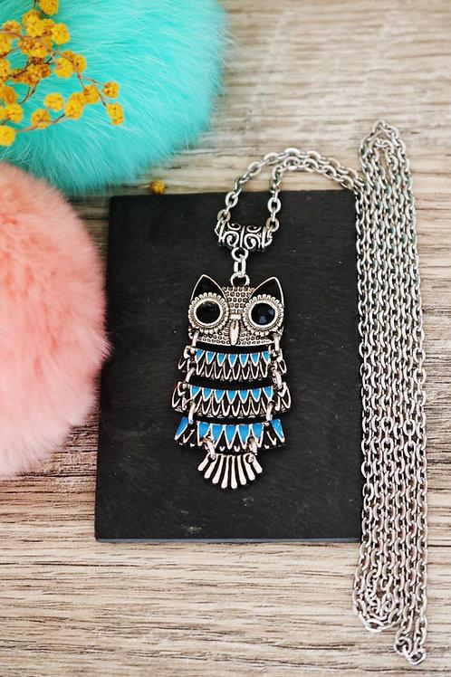 Sautoir/ collier long hibou noir, bleu et argenté et sa chain