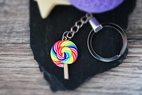 Porte clés sucette lollipop multicolore fimo artisanal