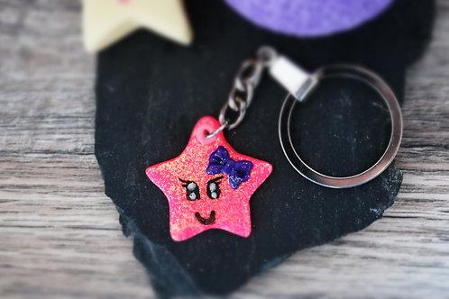 Porte clés Etoile rose fluo pailletée fimo artisanal