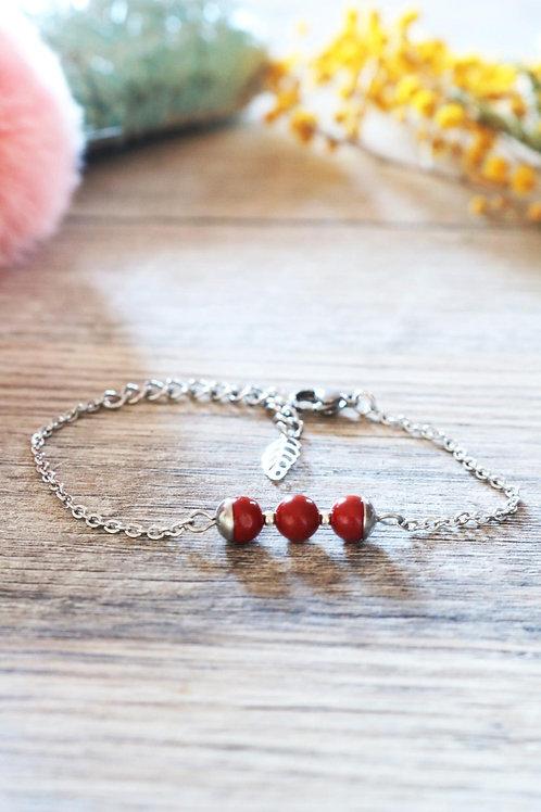 Bracelet Jali Jaspe rouge acier inoxydable artisanal pierres naturelle