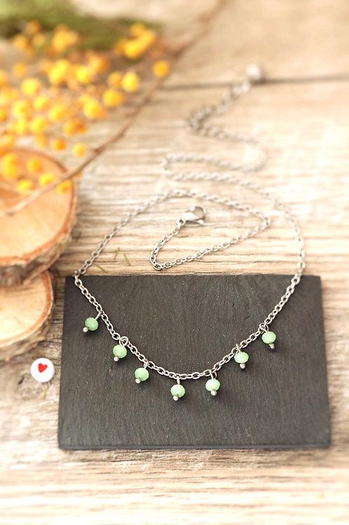 Collier tour de cou Perlita acier inoxydable argenté et perles vert pastel