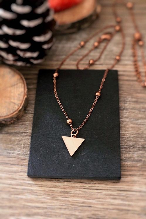 Collier en acier inoxydable Rosé triangle, réglable fait main