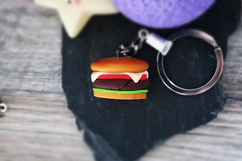 Porte clés Hamburger sandwich fimo artisanal