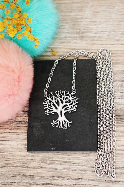Sautoir/ collier long arbre racines et sa chaine en acier inoxydable