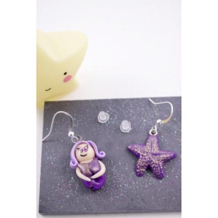 Boucles princesse siréne violette et son étoile de mer magique en fimo