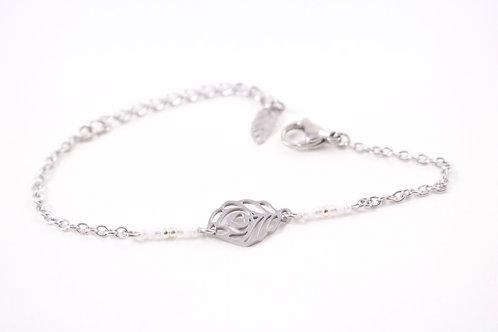 Bracelet acier plume de paon blanc réglable inoxydable bohème miyuki