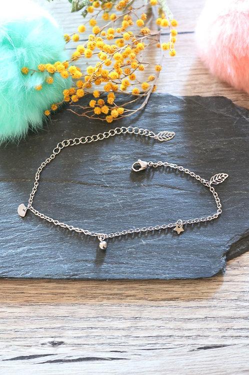 Bracelet/ chaine de cheville en acier inoxydable mix réglable artisanal