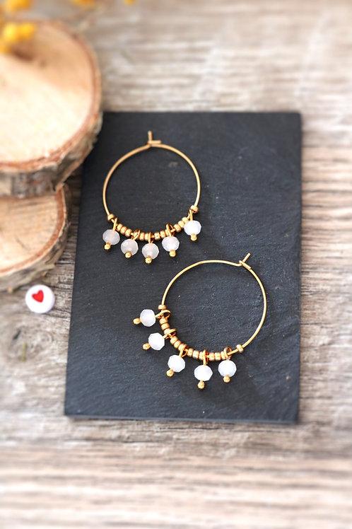 Créoles  boucles Perlita acier inoxydable doré et perles blanches