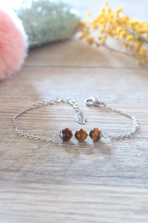 Bracelet Jali Oeil de tigre acier inoxydable artisanal pierres naturelle
