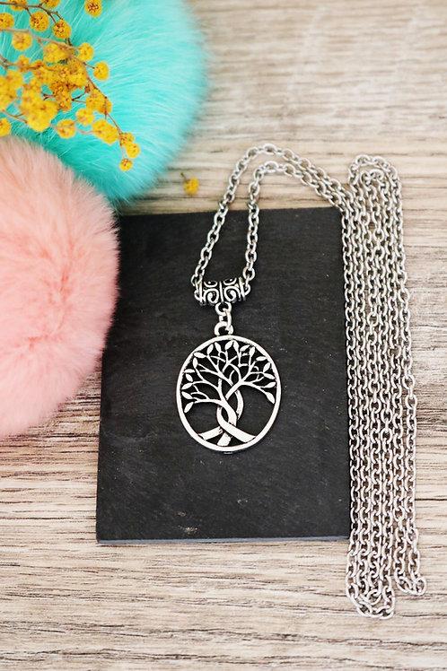 Sautoir/ collier long arbre médaillon oval argenté et sa chaine en acie
