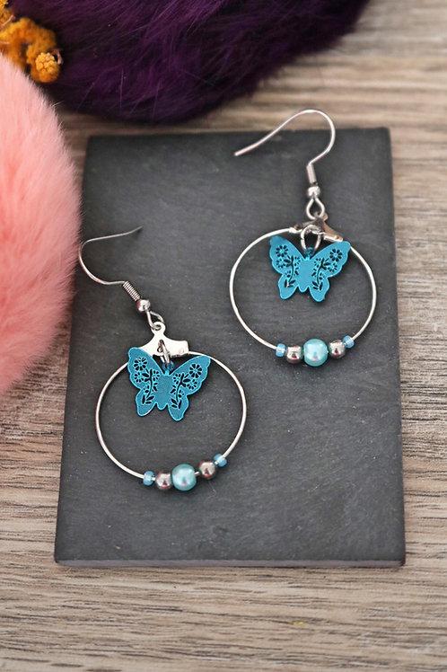 Boucles d'oreilles créoles papillons filigranes bleus attaches acier inox