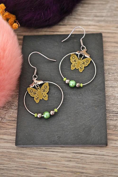 Boucles d'oreilles créoles papillons filigranes verts attache acier inox