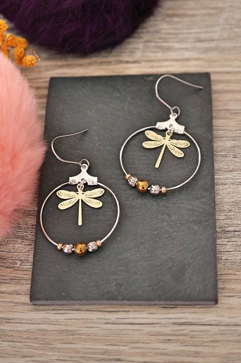 Boucles d'oreilles créoles libellules filigranes bicolores attache acier inox