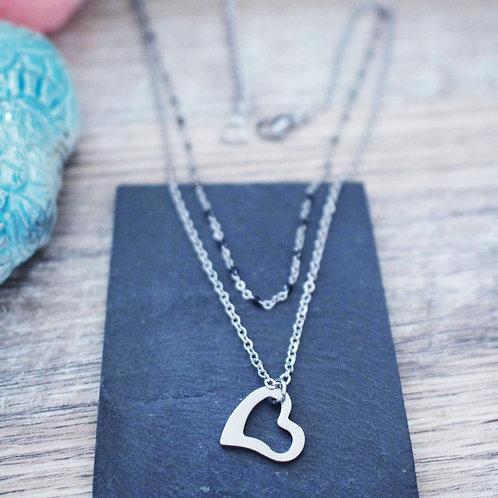 Collier double coeur acier inoxydable réglable fait main