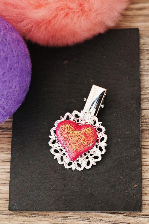 Barrette Coeur rose pailleté fimo artisanale pince
