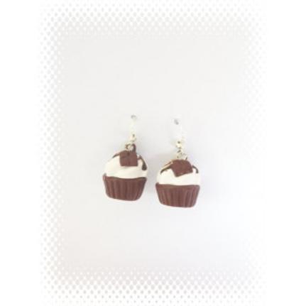Boucles cupcake au chocolat en fimo attache en acier inoxydable
