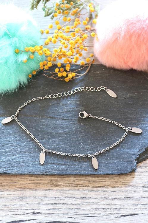 Bracelet/ chaine de cheville en acier inoxydable ovales réglable artisanal