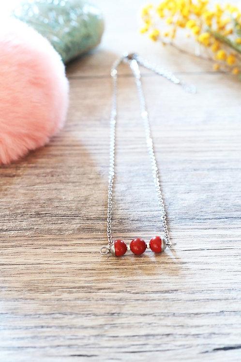 Collier Jali Jaspe rouge acier inoxydable artisanal pierres naturelle