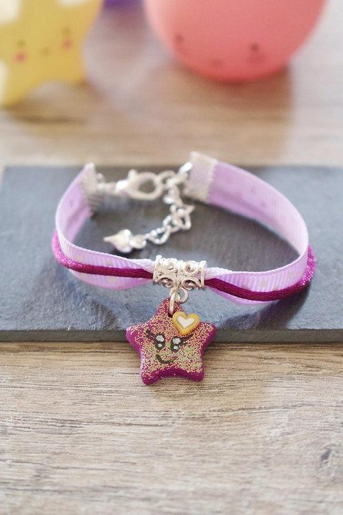 Bracelet enfant violet étoile pailletée en fimo fait main