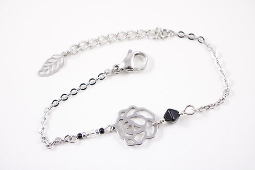 Bracelet acier fleur noir réglable inoxydable bohème miyuki