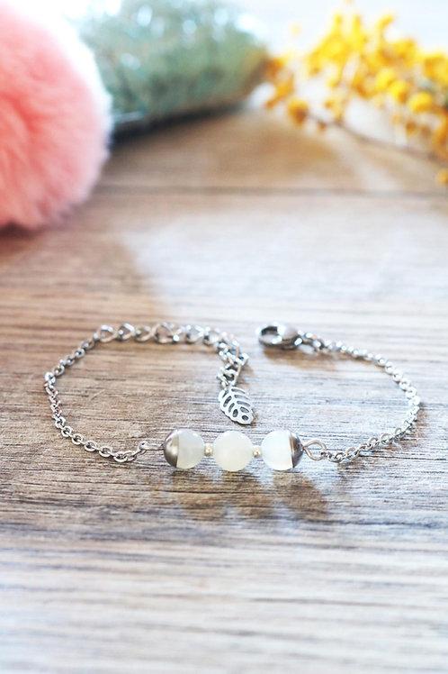 Bracelet Jali Pierre de lune acier inoxydable artisanal pierres naturelles