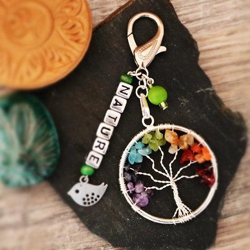 Porte clés arbre chakra pierres naturelles Nature artisanal