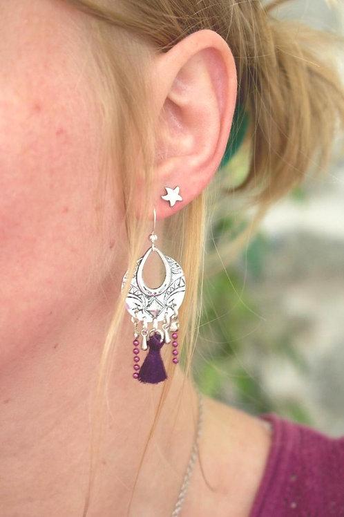 """Boucles d'oreilles """"Népal"""" violet prune pendante artisanale ethnique boho gypsy"""