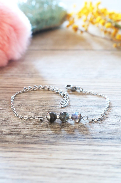 Bracelet Jali Labradorite acier inoxydable artisanal pierres naturelles