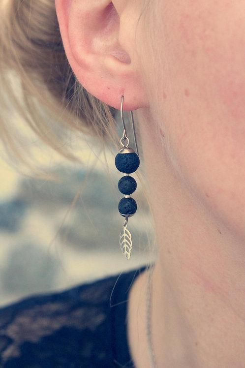 Boucles pendantes Jali Lave acier inoxydable fait main pierres naturelles