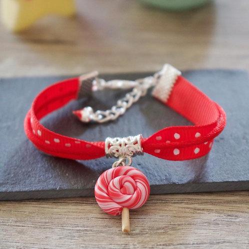 Bracelet enfant rouge sucette lolipop en fimo fait main
