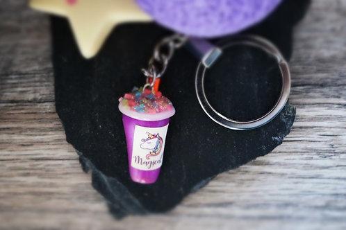 Porte clés Smoothie licorne violet  fimo artisanal