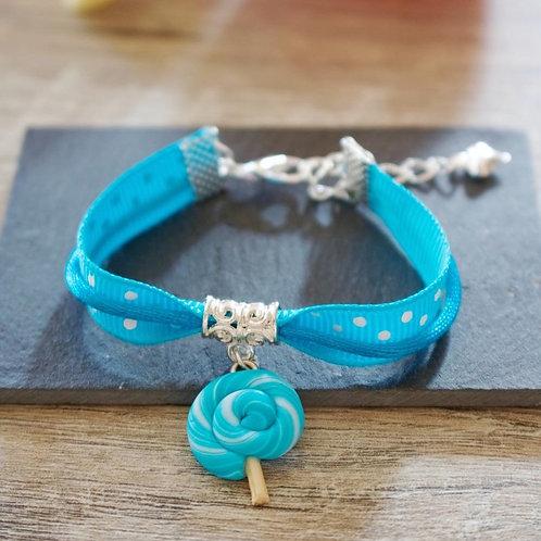 Bracelet enfant bleu sucette lolipop en fimo fait main