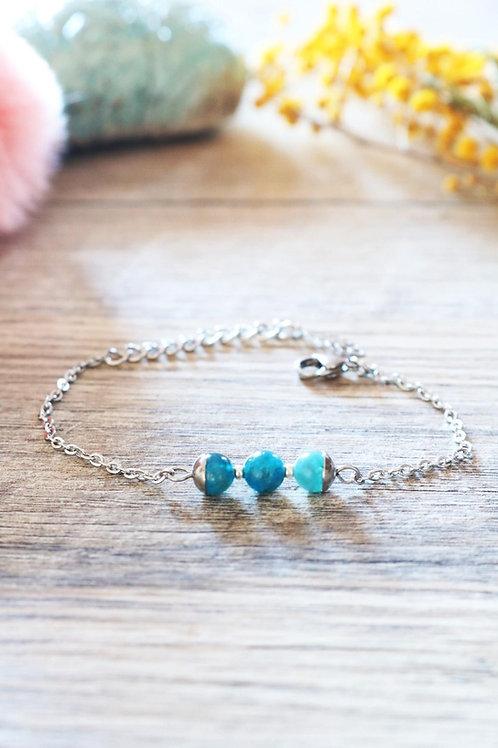 Bracelet Jali Apatite acier inoxydable artisanal pierres naturelles