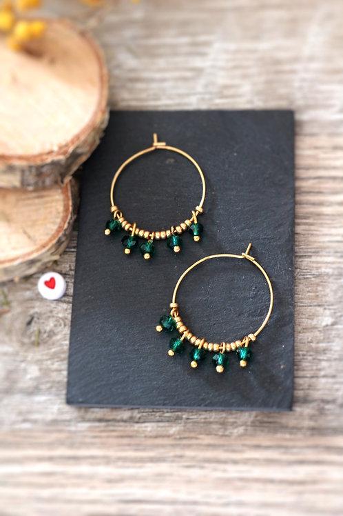 Créoles  boucles Perlita acier inoxydable doré et perles vert émeraude