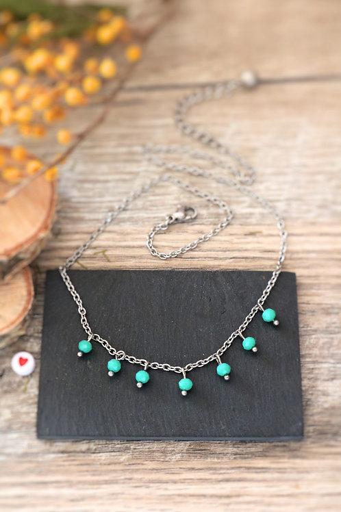 Collier tour de cou Perlita acier inoxydable argenté et perles vert d'eau
