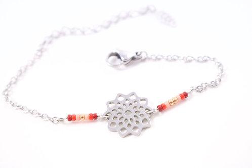 Bracelet acier fleur mandala rouge réglable inoxydable bohème miyuki