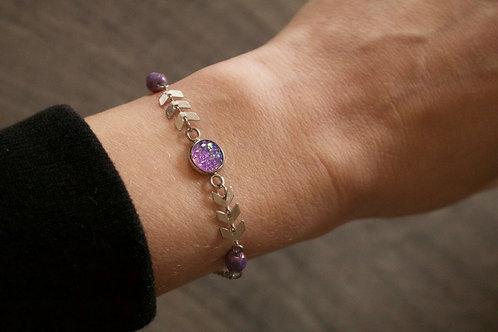 Bracelet Gypsy acier inoxydable violet réglable fait main