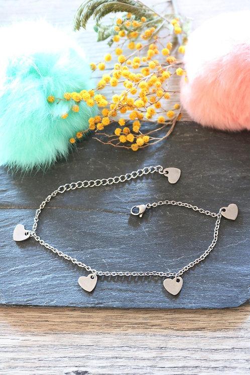 Bracelet/ chaine de cheville en acier inoxydable coeurs réglable artisanal