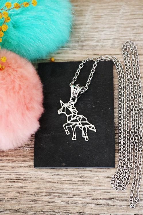 Sautoir/ collier long cheval licorne origami et argenté et sa chain