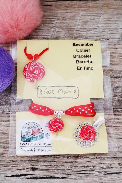 Parrure lolipop sucette rouge en fimo collier bracelet barrette artisanal