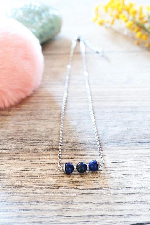 Collier Jali Lapis Lazuli acier inoxydable artisanal pierres naturelles